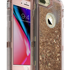 MXX iPhone 8 Plus Case, Glitter 3D Bling Sparkle Flowing Liquid Case Transparent 3 in 1 Shockproof TPU Silicone Core + PC Frame Case Cover for iPhone 7 Plus/iPhone 8 Plus- (Clear/Rose Gold)