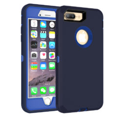MXX iPhone 8 Plus Case, Heavy Duty Defense Case with Screen Protector [4 Layers] Rugged Rubber Shockproof Protection Case Cover for iPhone 7 Plus/iPhone 8 Plus [5.5 inch] – Blue/Blue