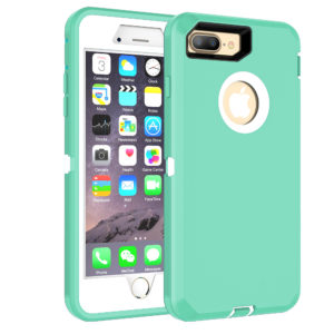 MXX Heavy Duty Defense Case with Screen Protector [4 Layers] Rugged Rubber Shockproof Protection Case Cover for Apple iPhone 7 Plus/ iPhone 8 Plus – Aqua-green/White