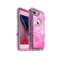 iPhone 8 Plus Case – by MXX – Glitter 3D Bling Sparkle Flowing Liquid Case Transparent 3 in 1 Shockproof TPU Silicone Core + PC Frame Case Cover for iPhone 7 Plus/iPhone 8 Plus- (Hot Pink)