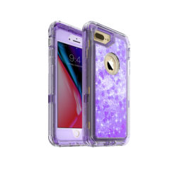 iPhone 8 Plus Case – by MXX – Glitter 3D Bling Sparkle Flowing Liquid Case Transparent 3 in 1 Shockproof TPU Silicone Core + PC Frame Case Cover for iPhone 7 Plus/iPhone 8 Plus- (Clear Violet)