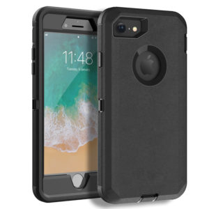 iPhone 8 Heavy Duty Case with Screen Protector and Belt Clip [3 in 1 Layers Protective] Rugged Rubber Shockproof Protection Cover for Apple iPhone 7 / iPhone 8 – Black/Black