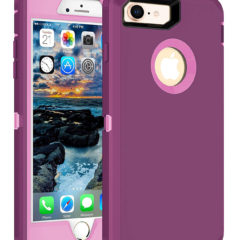 MXX iPhone 8 Heavy Duty Protective Case with Screen Protector [3 Layers] Rugged Rubber Shockproof Protection Cover for Apple iPhone 7 / iPhone 8 – Purple/Light Pink
