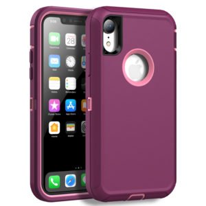 Case Compatible with iPhone XR, Shock Absorption Heavy Duty Protective Cover with Armor Designed TPU and Hard PC [Support Wireless Charging] for Apple iPhone XR 6.1 Inch LCD Screen (Plum/Light Pink)