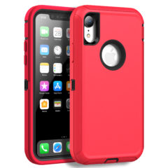 MXX Case Compatible with iPhone XR, Shock Absorption Heavy Duty Protective Cover with Armor Designed TPU and Hard PC [Support Wireless Charging] for Apple iPhone XR 6.1 Inch LCD Screen (Red/Black)