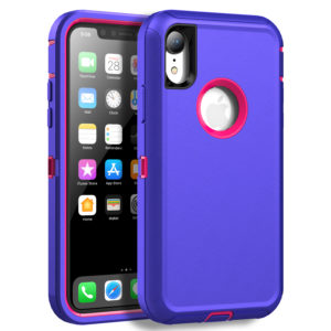 MXX Case Compatible with iPhone XR, Shock Absorption Heavy Duty Protective Cover with Armor Designed TPU and Hard PC [Support Wireless Charging] for Apple iPhone XR 6.1 Inch LCD Screen (Purple/Pink)