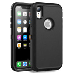 MXX Case Compatible with iPhone XR, Shock Absorption Heavy Duty Protective Cover with Armor Designed TPU and Hard PC [Support Wireless Charging] for Apple iPhone XR 6.1 Inch LCD Screen (Black)