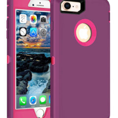 MXX iPhone 8 Heavy Duty Case with Screen Protector and Belt Clip [3 in 1 Layers Protective] Rugged Rubber Shockproof Protection Cover for Apple iPhone 7 / iPhone 8 – (Purple/Hot Pink)